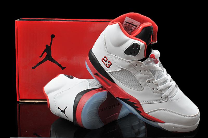 New Arrival Hardback Air Jordan 5 White Red Black Shoes