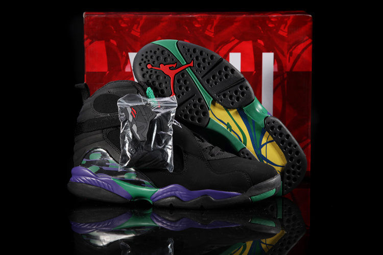Hardback Air Jordan 8 Black Green Purple Shoes