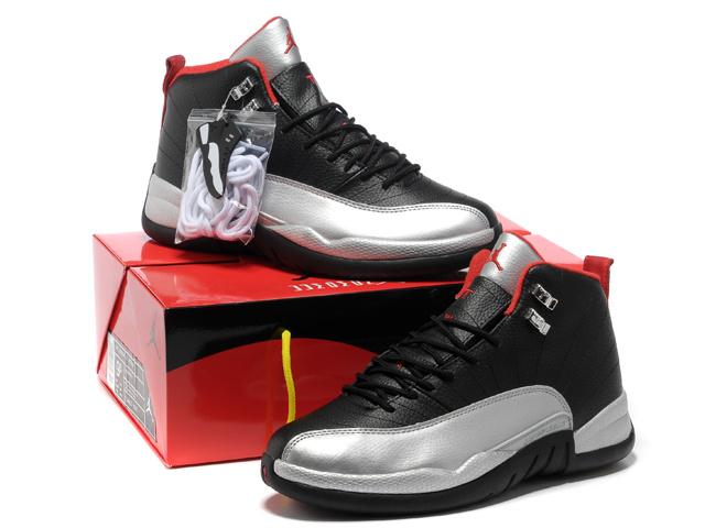 Hardcover Air Jordan 12 Black Silver Red Shoes
