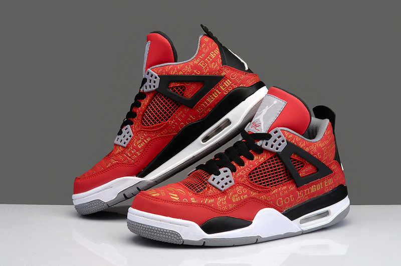 New Arrival Jordan 4 Limited Edition Super Bulls Red Black White Shoes