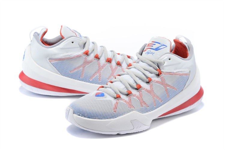 Jordan Chris Paul 8 Playoffs White Red Blue Shoes