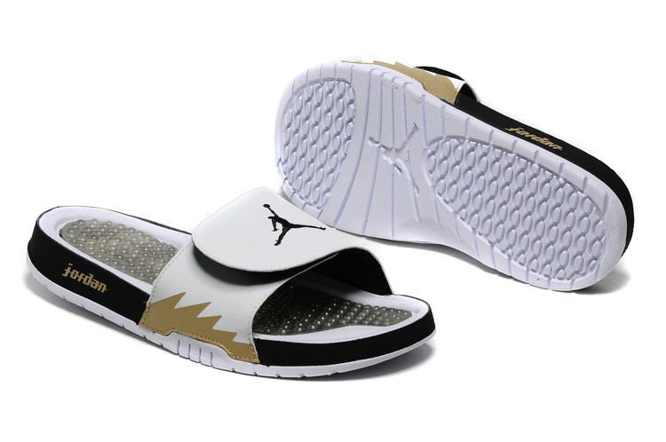 Jordan Hydro 5 Sandal White Black Gold Fire