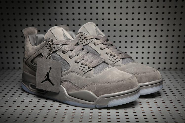 KAWS x Air Jordan 4 Grey Suede Shoes