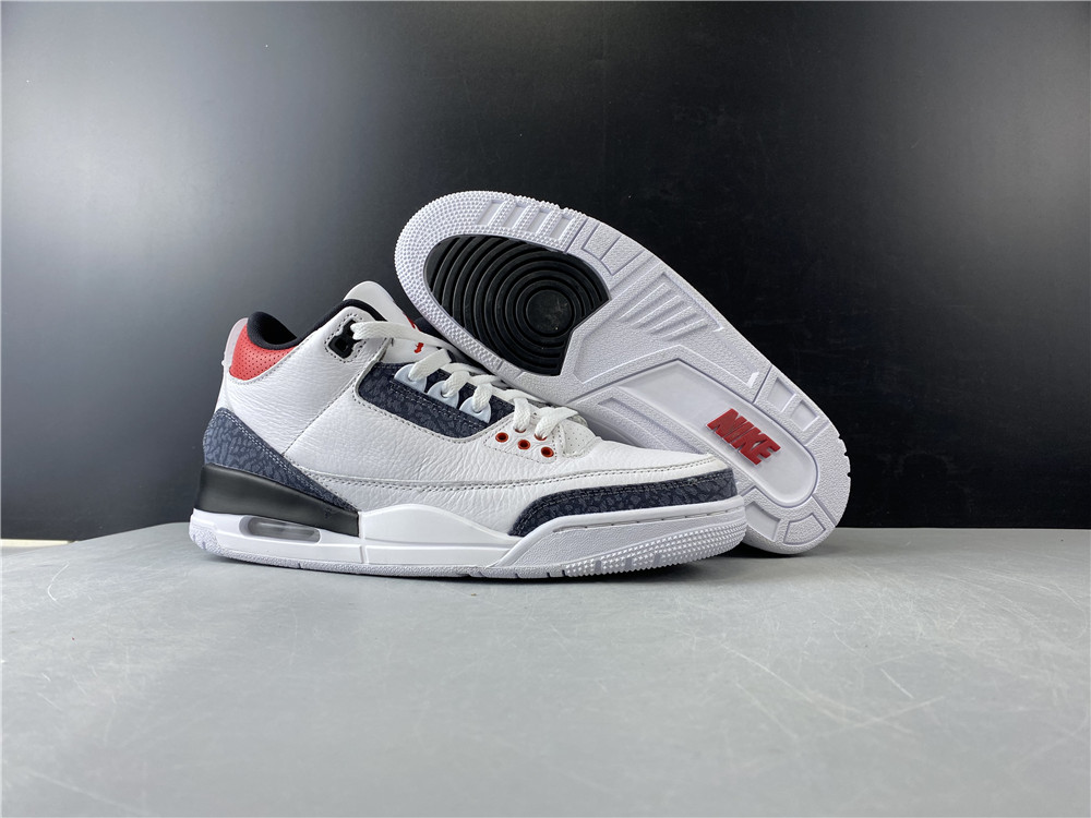 Khaki24 Air Jordan 3 White Black Red Shoes