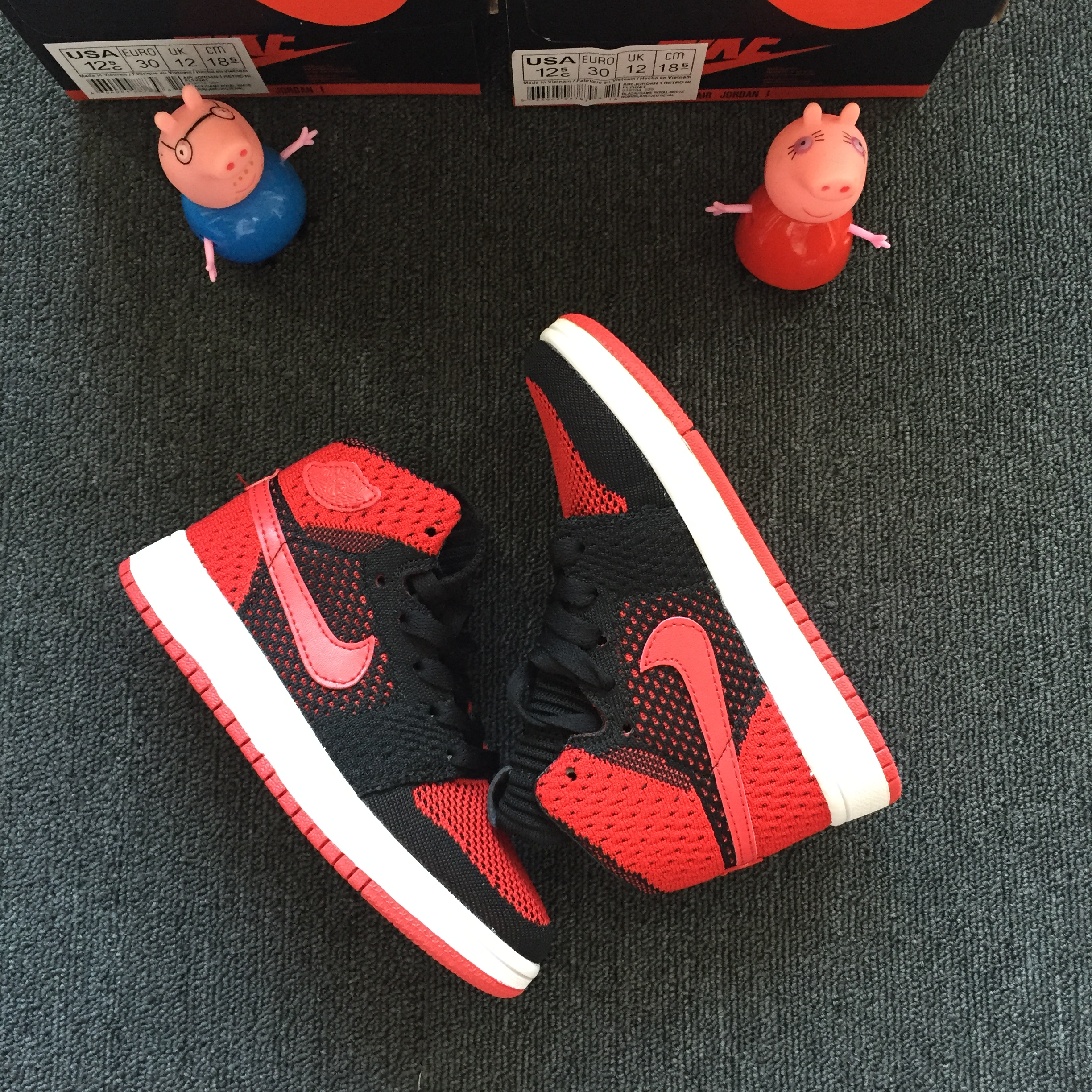 Kids Air Jordan 1 Flyknit Bred Red Black Shoes