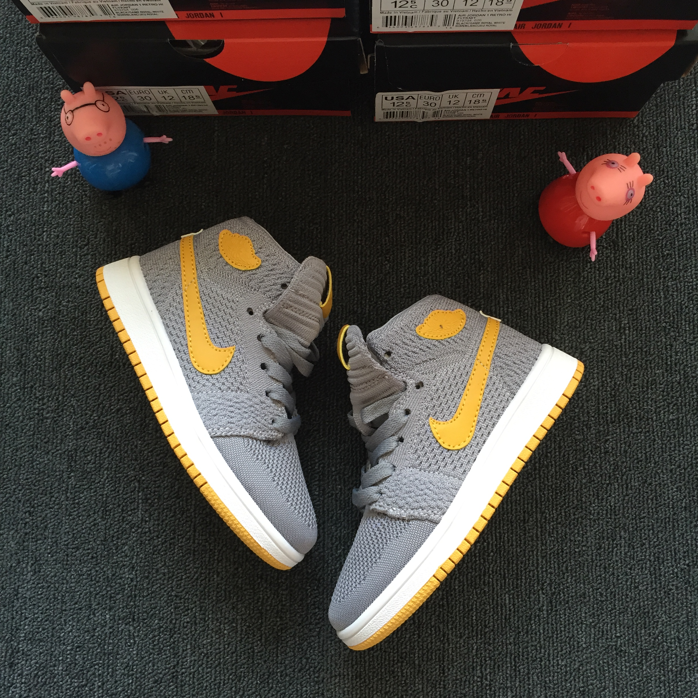 Kids Air Jordan 1 Flyknit Grey Yellow Shoes