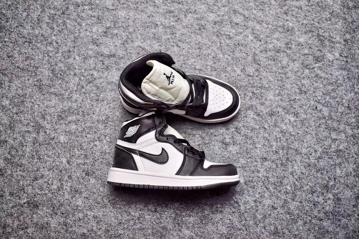Kids Air Jordan 1 Retro Black White Shoes