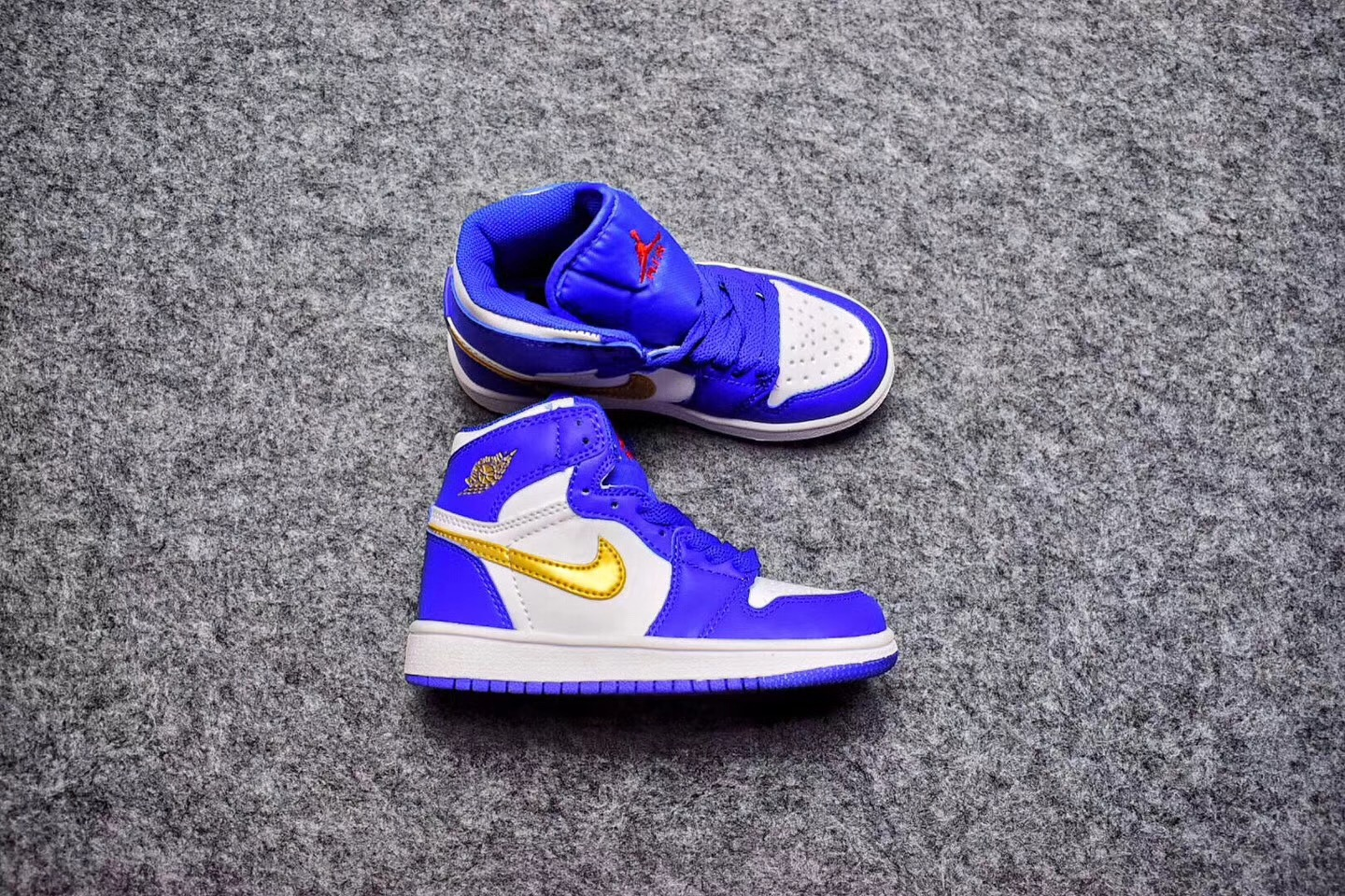 Kids Air Jordan 1 Retro Blue White Gold Shoes