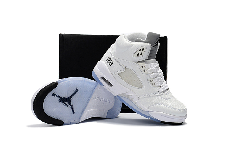 Kids Air Jordan 5 All White Blue Sole Shoes