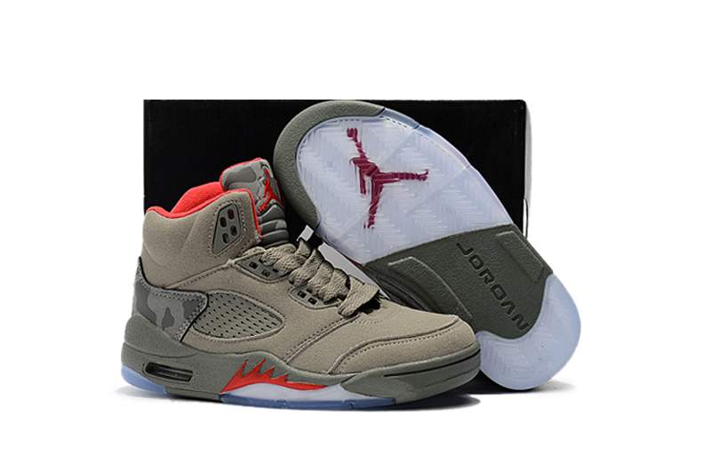 Kids Air Jordan 5 Army Green Red Shoes