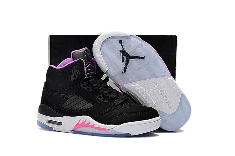 Kids Air Jordan 5 Black Pink Shoes