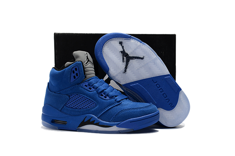 Kids Air Jordan 5 Sea Blue Shoes