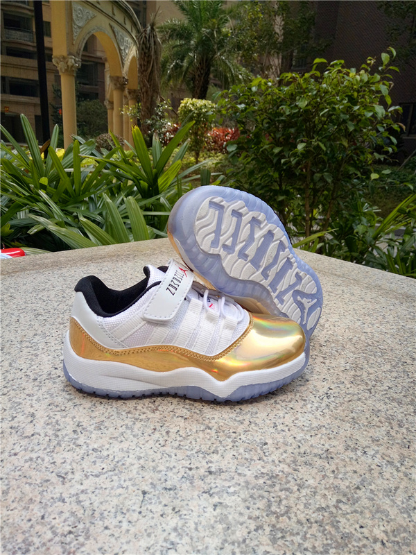 Kids Air Jordan 11 Low Magic Buckle White Gold Shoes