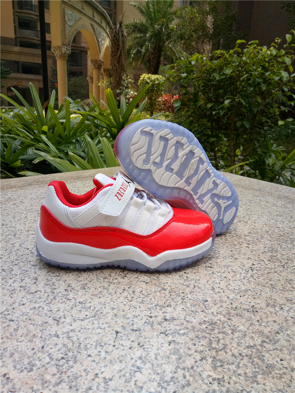Kids Air Jordan 11 Low Magic Buckle White Red Shoes