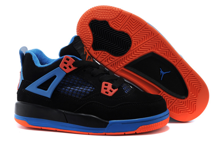 Kids Air Jordan 4 Black Blue Orange Shoes