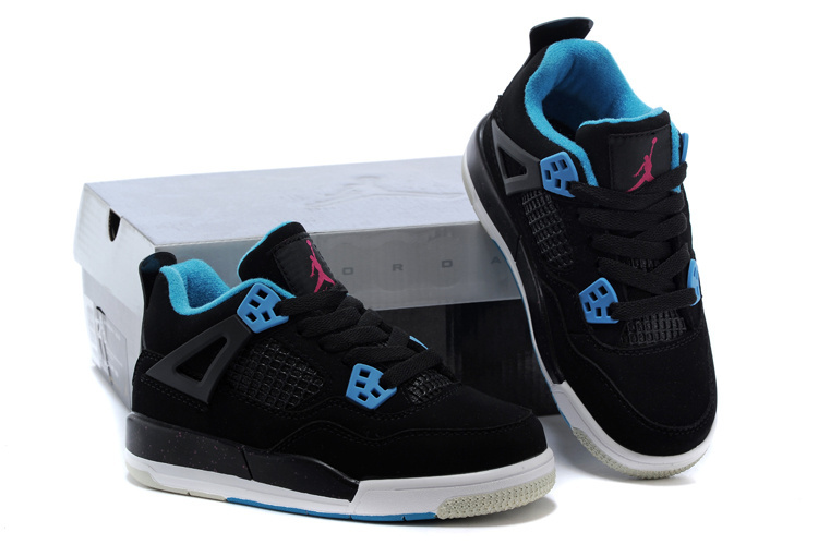 Kids Air Jordan 4 Black Blue Red Shoes