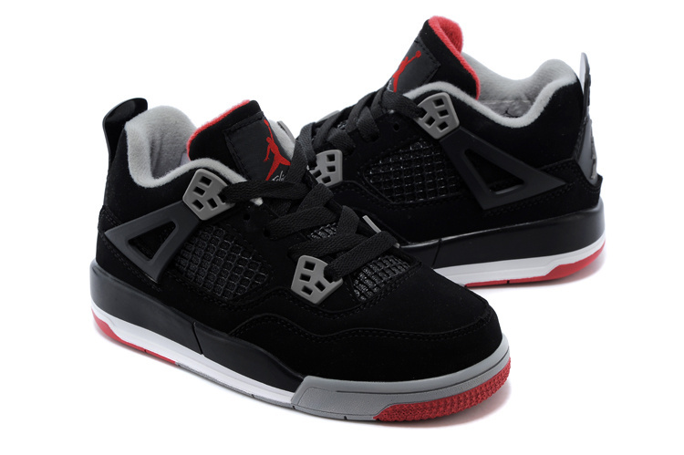 Kids Air Jordan 4 Black Grey Red Shoes