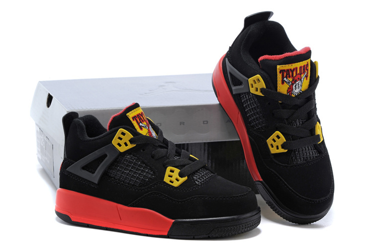 Kids Air Jordan 4 Black Yellow Red Shoes
