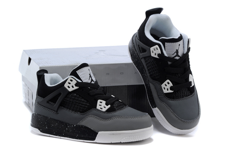 Kids Air Jordan 4 Grey Black Shoes