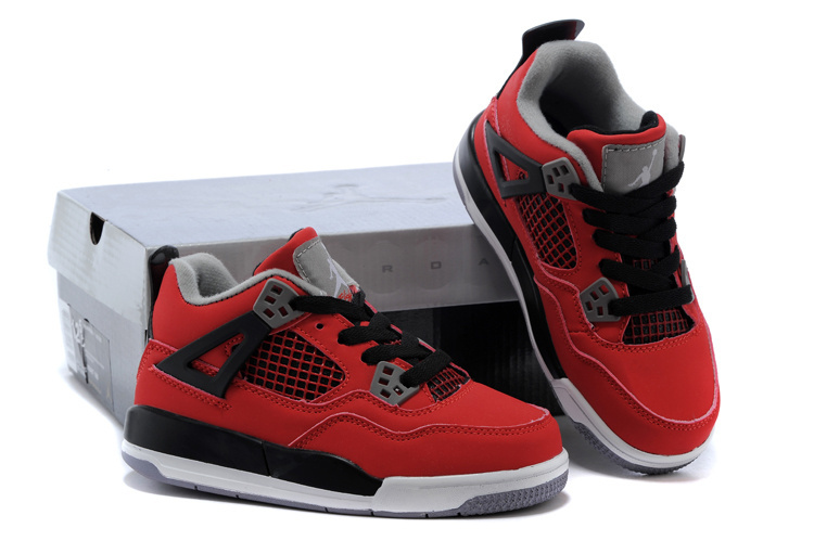 Kids Air Jordan 4 Red Black Grey Shoes