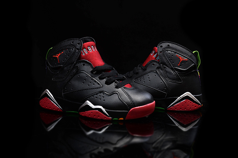 Kids Air Jordan 7 Retro Black Red Shoes