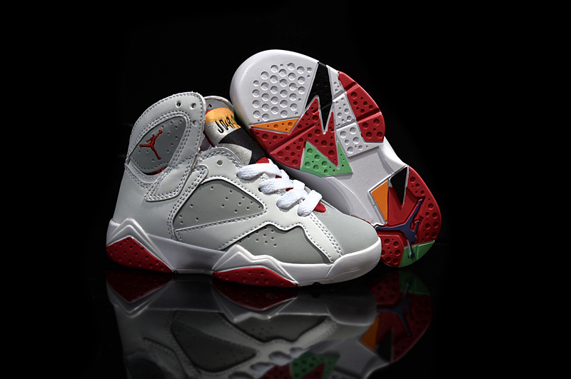 Kids Air Jordan 7 Retro White Grey Red Shoes