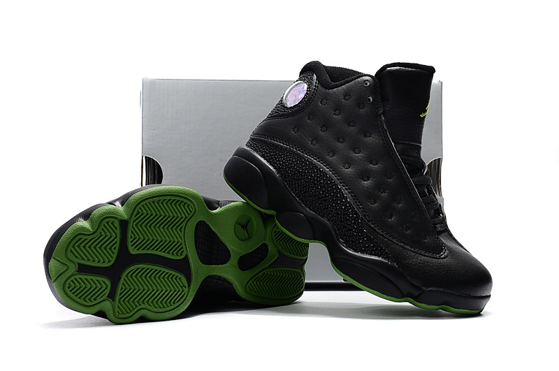Kids Jordan 13 Black Green Shoes