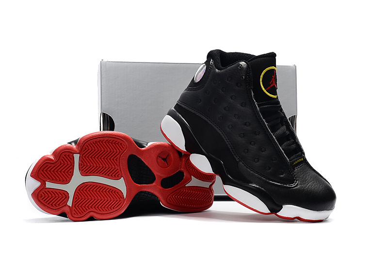 Kids Jordan 13 Black Red White Shoes
