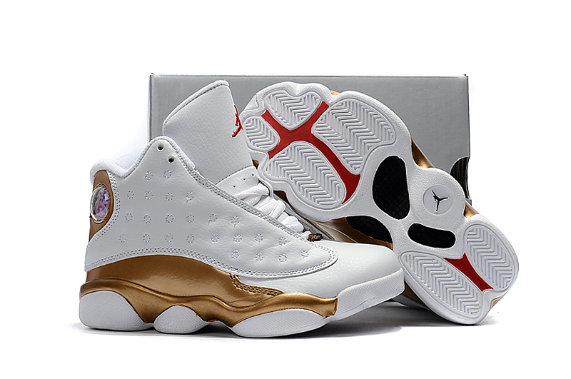 Kids Jordan 13 White Gold Red Shoes