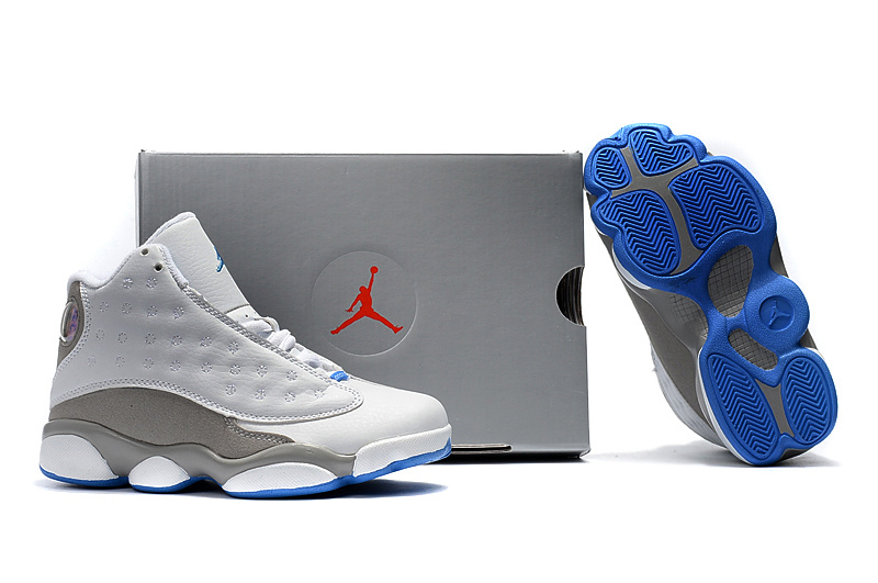 Kids Jordan 13 White Grey Blue Shoes