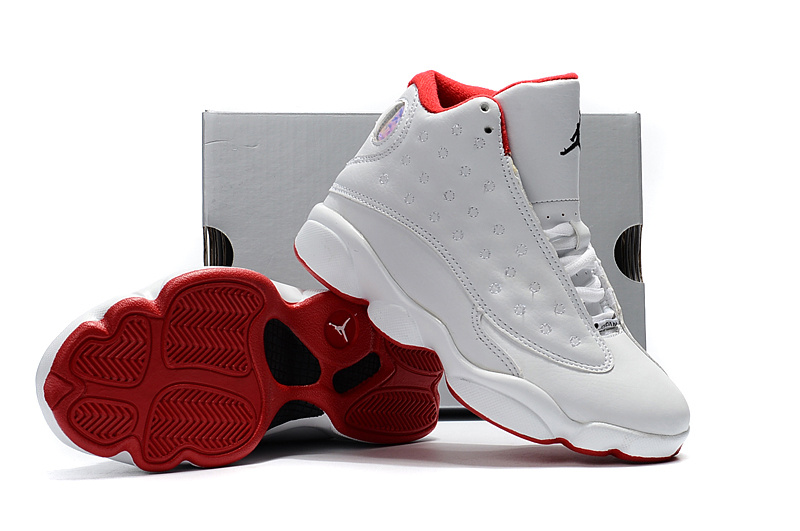 Kids Jordan 13 White Grey Red Shoes