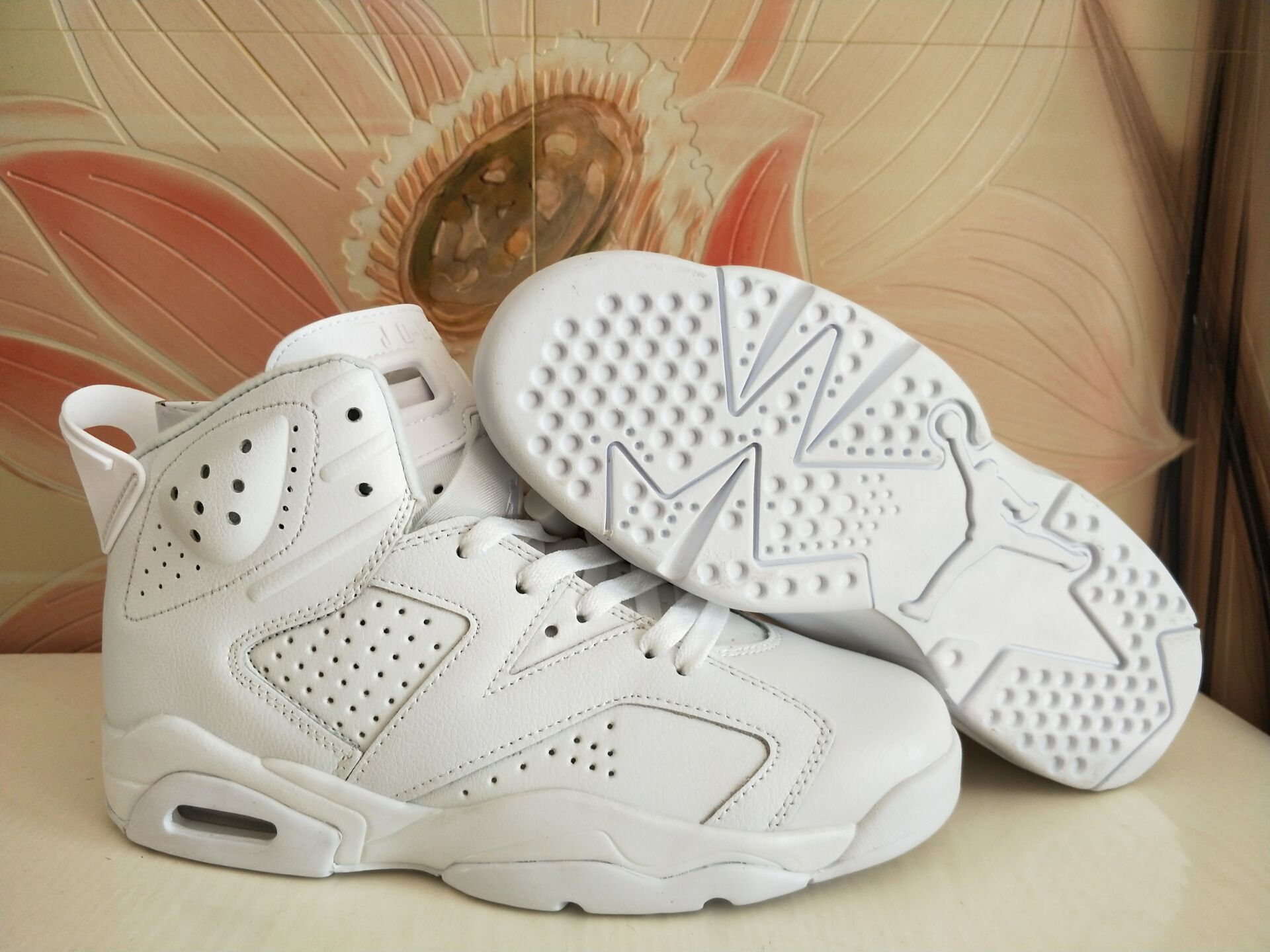 Women Air Jordan 6 All White Shoes