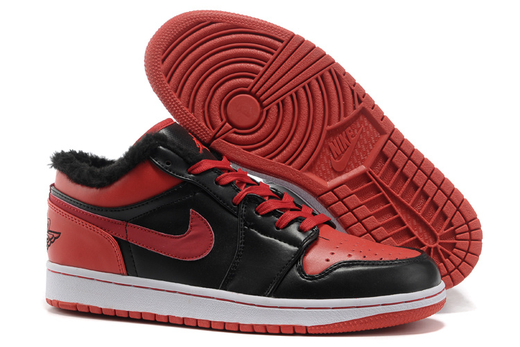Low Air Jordan Retro 1 Wool Black Red White Shoes