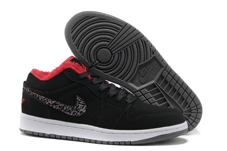 Low Air Jordan Retro 1 Wool Black White Grey Shoes