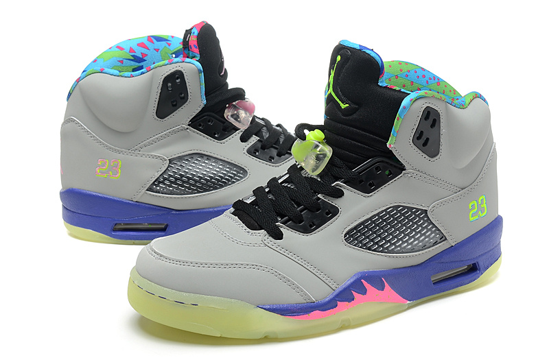 2013 Mandarin Duck Jordan 5 Midnight Edition Grey Black Purple Shoes