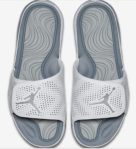 Men Jordan Hydro 5 Slide Sandals Grey White