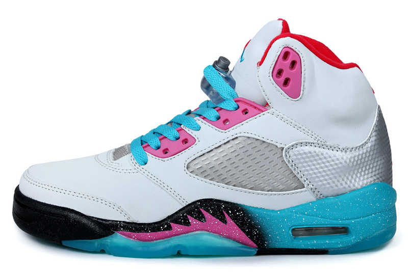 Miami Air Jordan 5 White Blue Pink Shoes