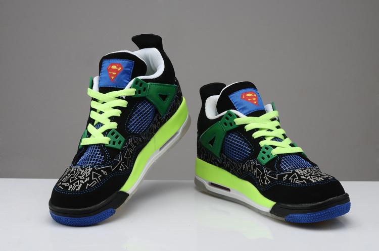 Midnight Air Jordan 4 Superman Black Green Blue Shoes