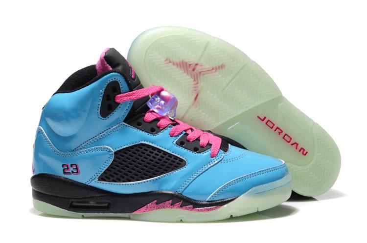 Midnight Air Jordan 5 Blue Black Pink For Women