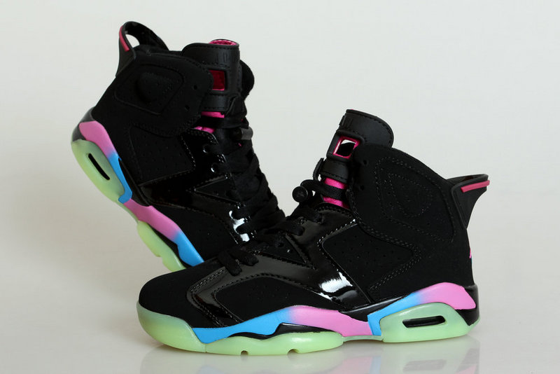 Midnight Jordan 6 Black Colorful Shoes For Women
