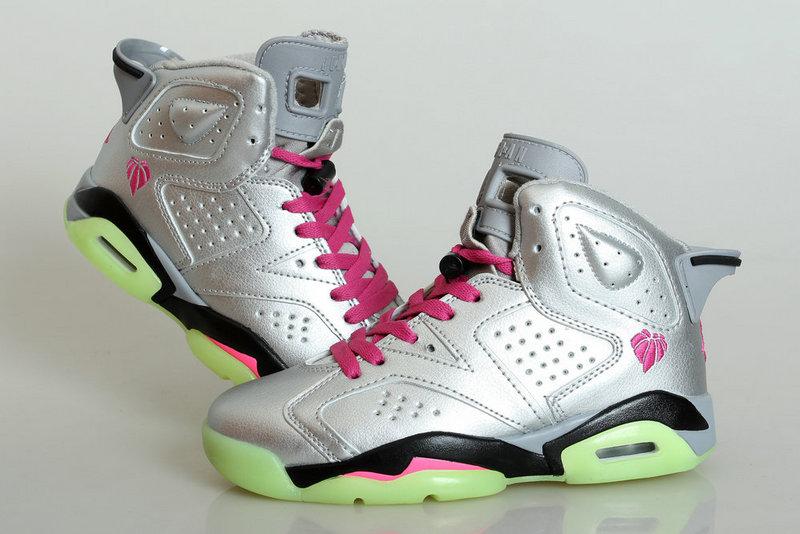 Midnight Jordan 6 Silver Pink Black Shoes For Women