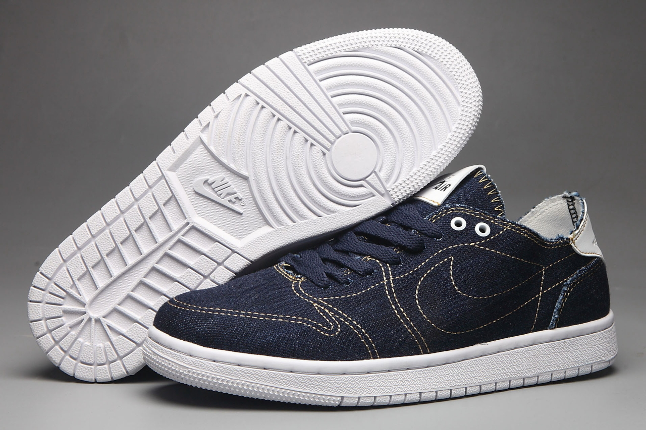 New Air Jordan 1 Low Canvas Blue White Shoes