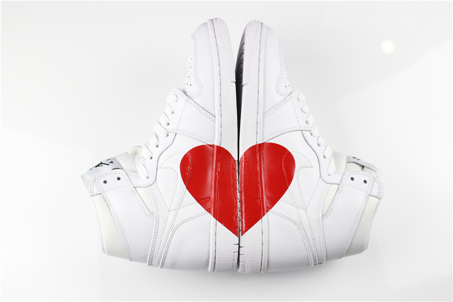 New Women Air Jordan 1 Red Heart All White Shoes