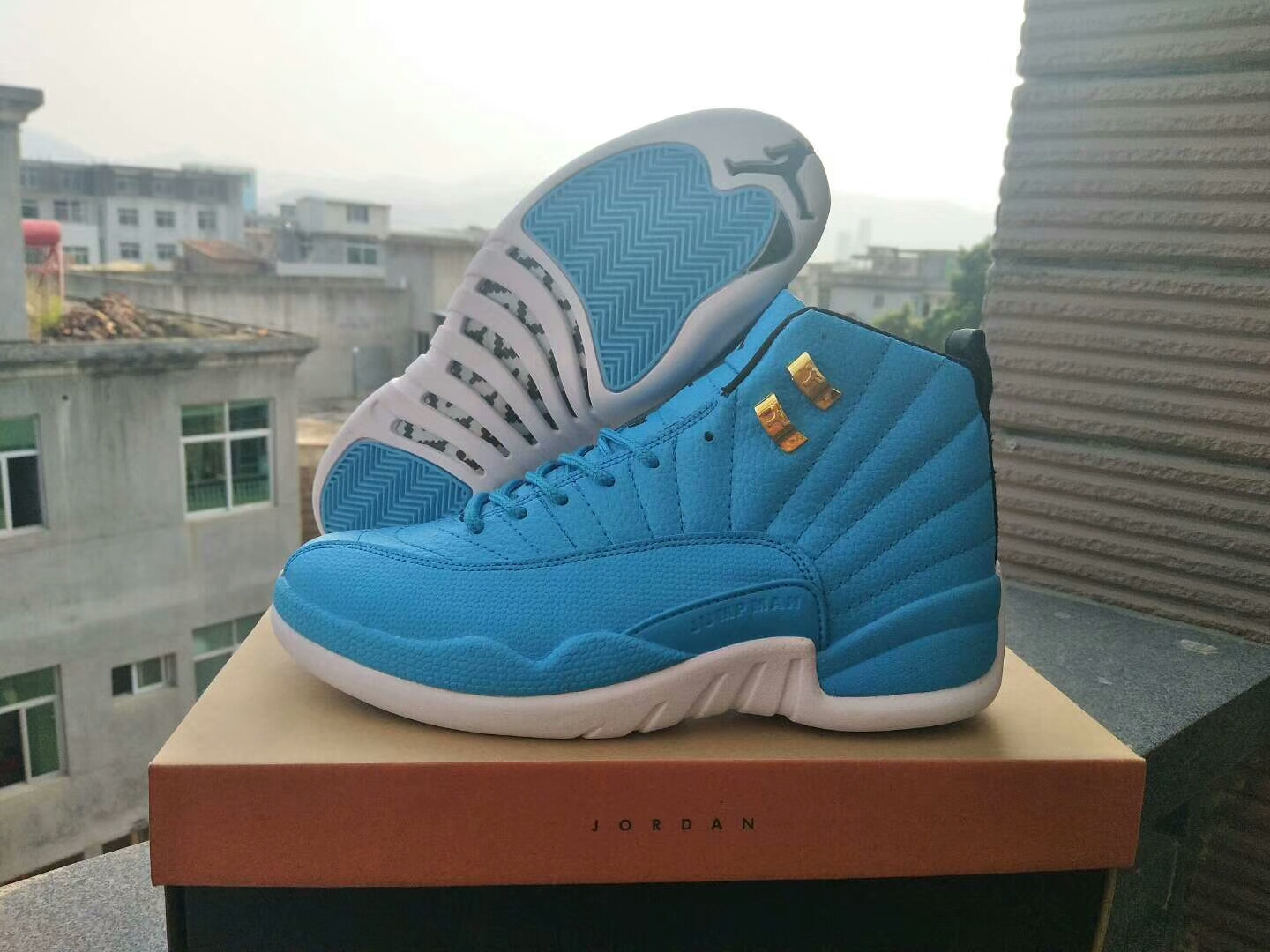 New Air Jordan 12 Retro North Carolina Blue White Gold Shoes