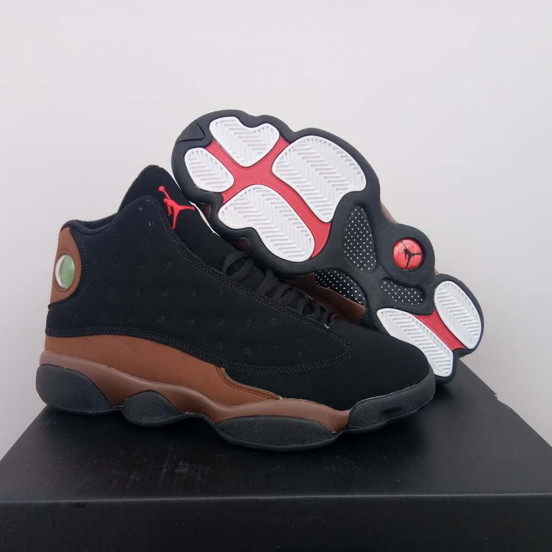 New Air Jordan 13 Retro Black Tan Red Shoes