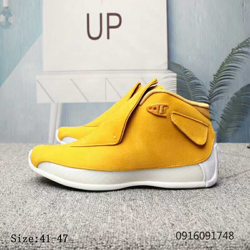 New Air Jordan 18 Yellow White Shoes