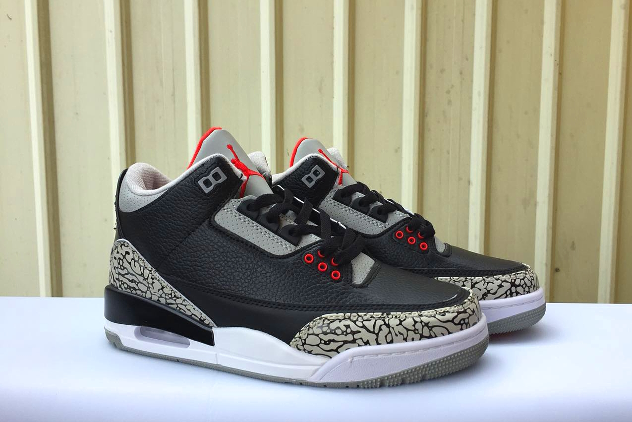 New Air Jordan 3 Retro Black Cement Red Swoosh Shoes
