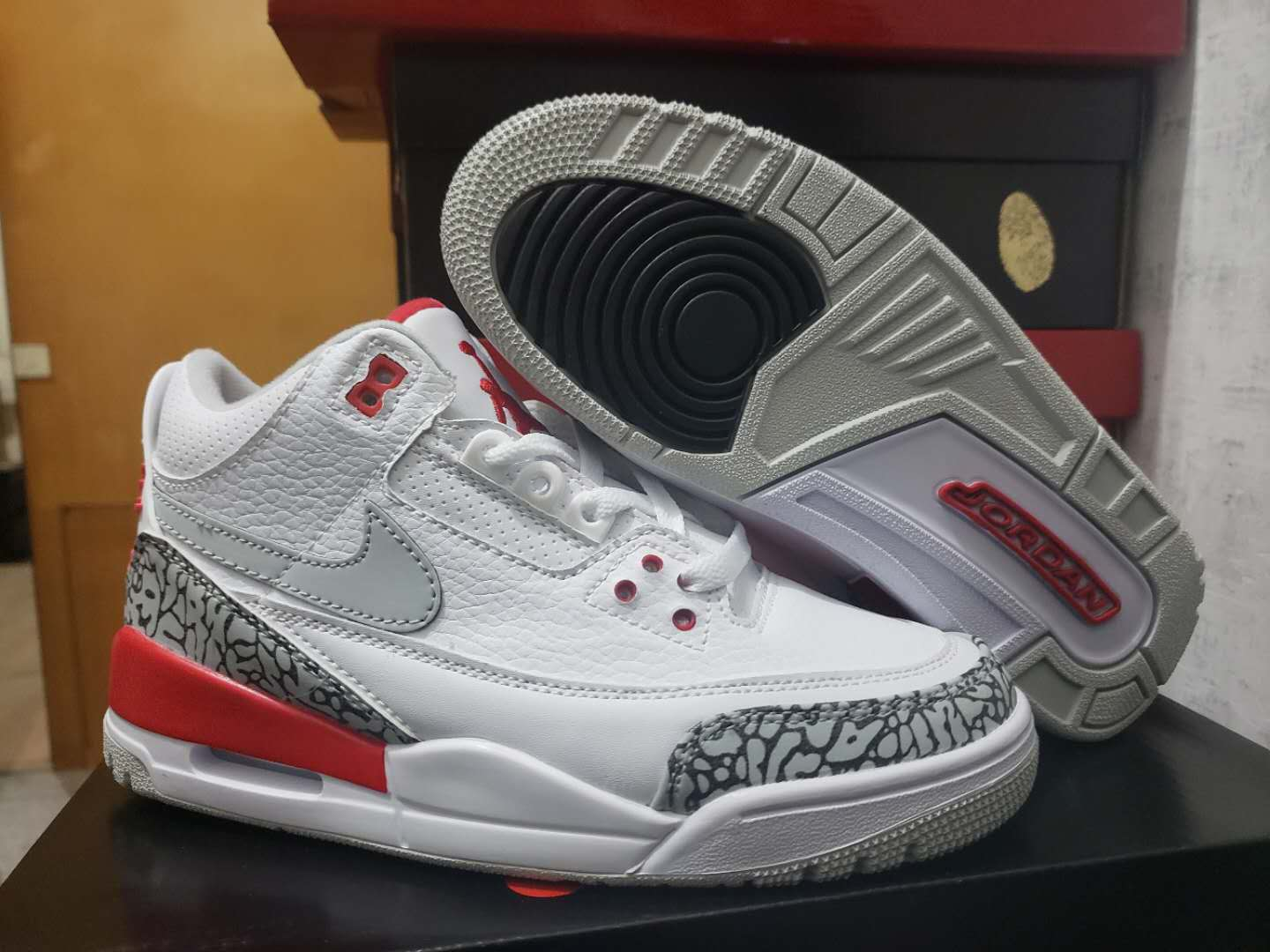 New Air Jordan 3 White Cement Grey Red Blue Orange Shoes