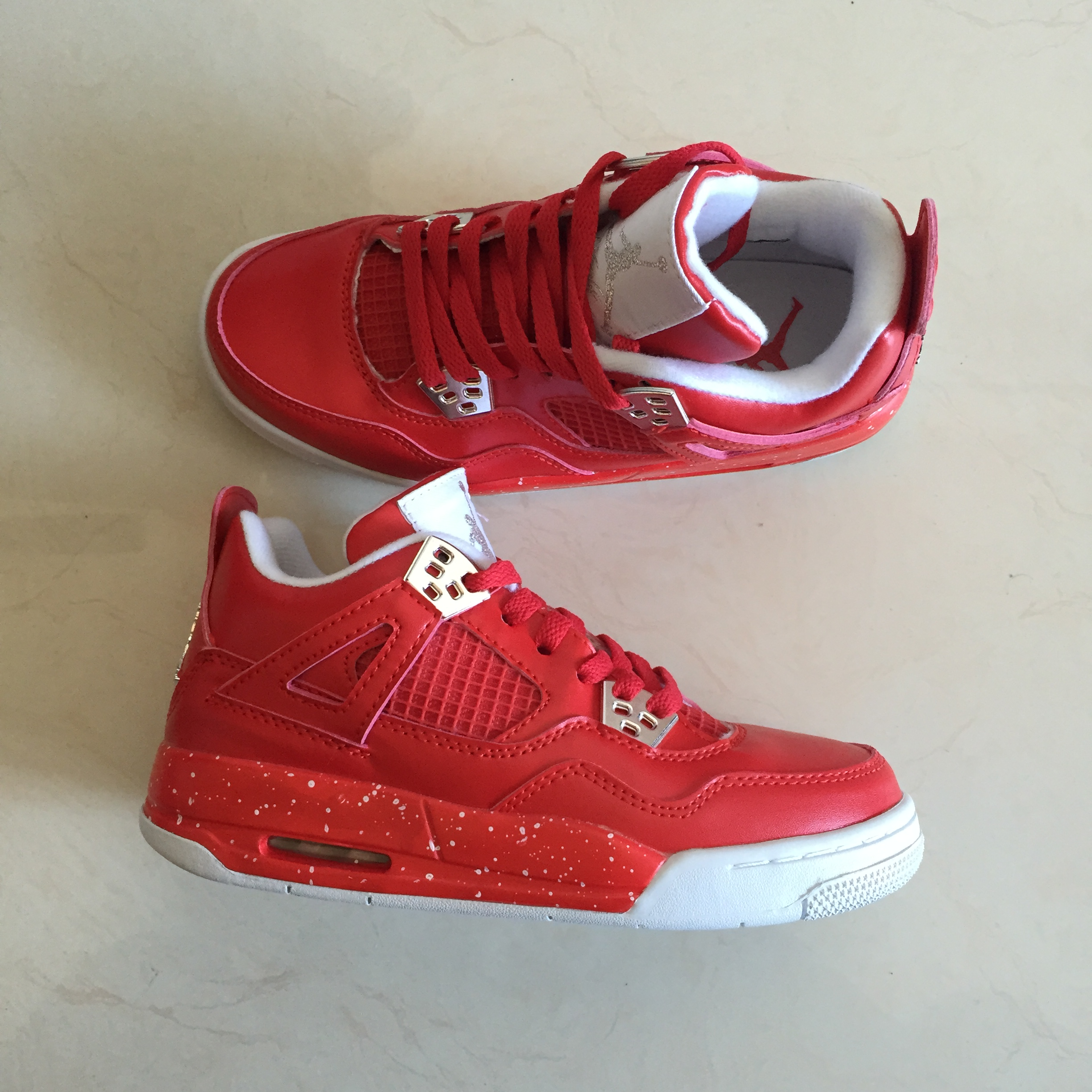 New Air Jordan 4 Spray Point All Red Shoes