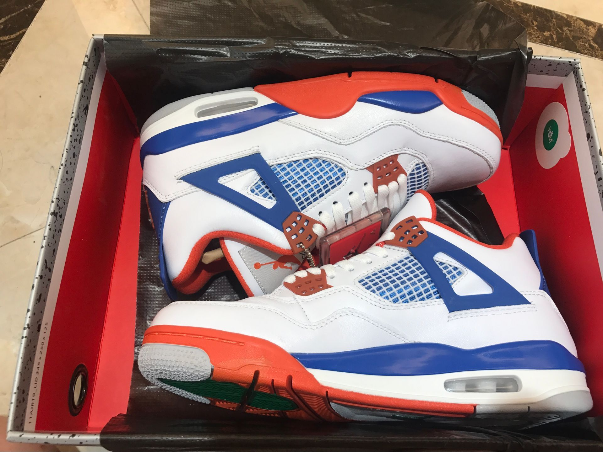 New Air Jordan 4 White Royal Blue Red Shoes